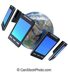 3d illustration of smarphones around the world isolated on...