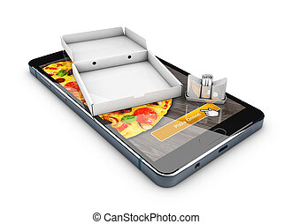 3d illustration of Smartphone with pizza of box, Online Food Delivery.
