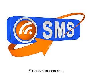 3d illustration of sms