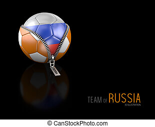 3d Illustration of soccer ball with Russia flag isolated on black background.