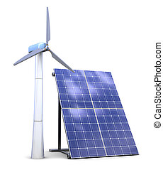 solar and wind power - 3d illustration of solar and wind...