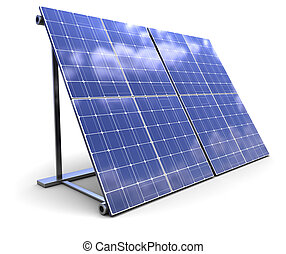 solar panel - 3d illustration of solar panel over white...
