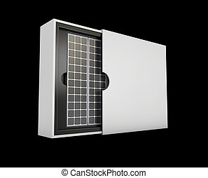 3d illustration of solar panels in the box, energy from the sun concept, isolated black