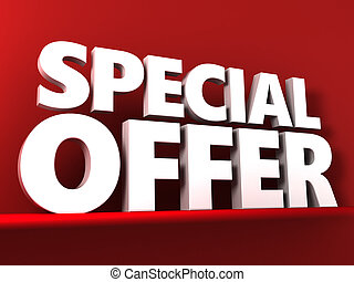 3d illustration of special offer text over red background
