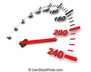 3d illustration of speed meter, fast