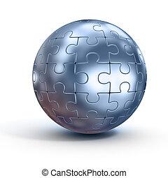 spherical jigsaw - 3d illustration of spherical jigsaw