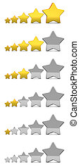 stars rating - 3d illustration of stars rating icons set, ...