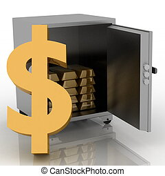 3d illustration of steel safe with dollar sign outside