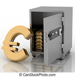 steel safe with euro sign outside