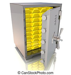 illustration of steel safe with gold bullions