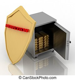 3d illustration of steel safe with shield