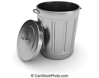 trash can - 3d illustration of steel trash can over white...