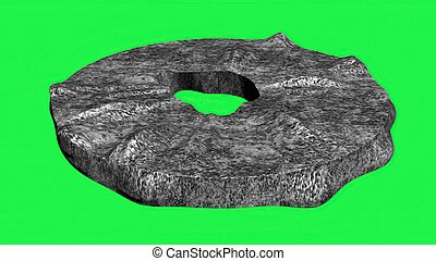 3D illustration of stone wheel isolated on green screen