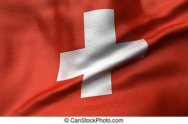 3D Illustration of Switzerland Flag