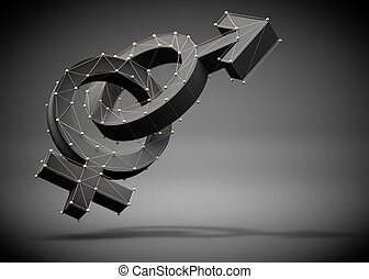 3d illustration of symbols and icons of male and female sex isolated over background