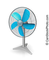 table fan - 3d illustration of table fan, isolated on white