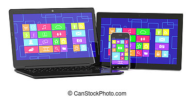3d illustration of tablet PC, laptopand smartphone isolated on white background