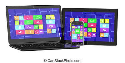 tablet PC, laptopand smartphone - 3d illustration of tablet ...