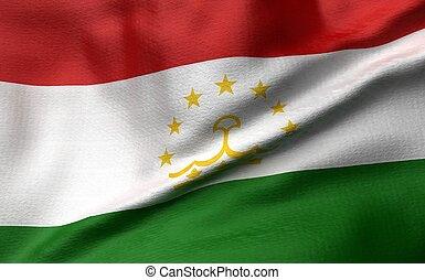 3D Illustration of Tajikistan Flag