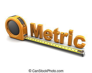 3d illustration of tape meter and text metric, over white background