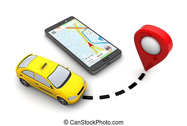 taxi navigation - 3d illustration of taxi navigation...