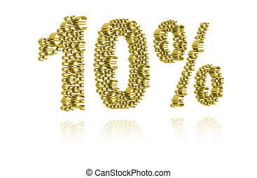 3D Illustration of ten percent