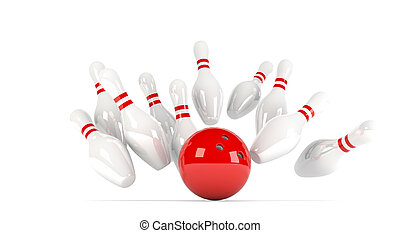skittles with red bowling ball - 3D illustration of ten pins...