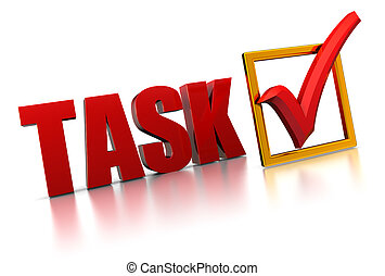 3d illustration of text 'task' and checkmark, completed task concept
