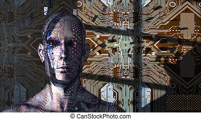 the artificial intelligence concept - 3d illustration of the...