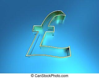 3d illustration of the British pound symbol on a blue background