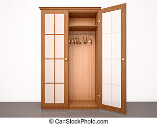3d illustration of The empty half-open wooden wardrobe with ...