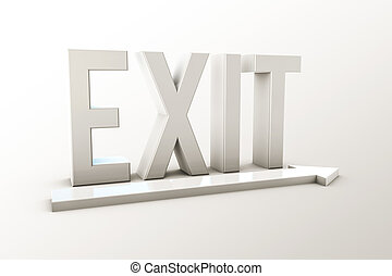 exit sign - 3d illustration of the exit sign isolated on...