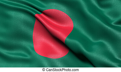 3D illustration of the flag of Bangladesh waving in the wind.