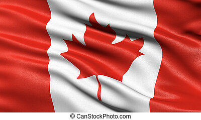 3D illustration of the flag of Canada waving in the wind.