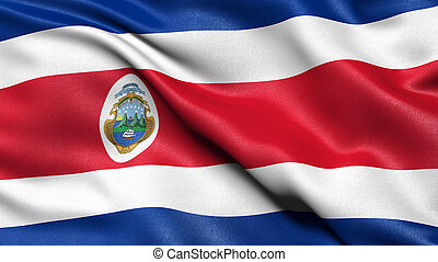 3D illustration of the flag of Costa Rica waving in the wind.