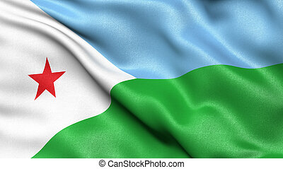3D illustration of the flag of Djibouti waving in the wind.
