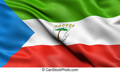 3D illustration of the flag of Equatorial Guinea waving in ...