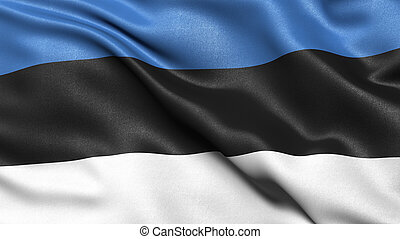 3D illustration of the flag of Estonia waving in the wind.