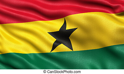 3D illustration of the flag of Ghana waving in the wind.