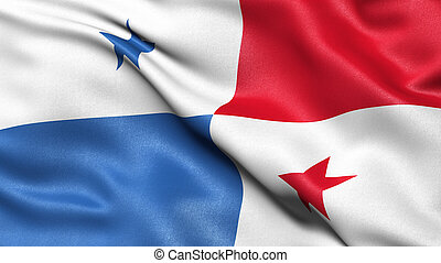 3D illustration of the flag of Panama waving in the wind.