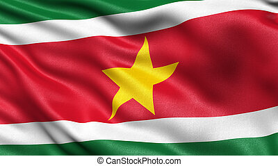 3D illustration of the flag of Suriname waving in the wind.