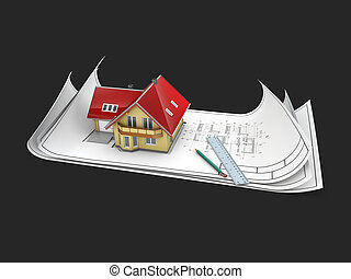 3d Illustration of the House on architect project, isolated black