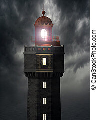 3d illustration of the Jument lighthouse, located on the island of Ouessant in Brittany (France).