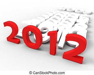 3d illustration of the new year in red with previous years on a white background