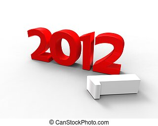 3d illustration of the new year in red with the fall of a number one