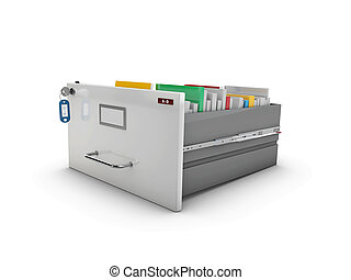 3d Illustration of the open drawer with books