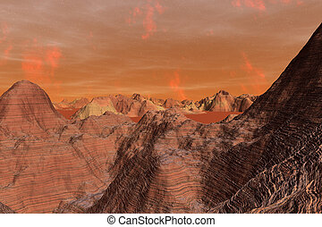 3D Illustration of the surface of Planet Mars