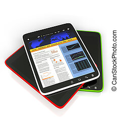 3D: Illustration of the Tablet PC on a white background, mobile technology
