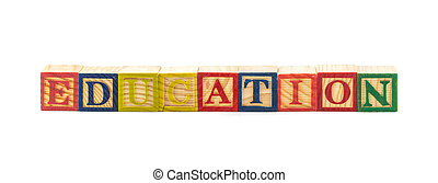3d illustration of the word education using colorful cubes