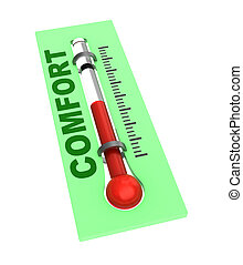 comfort temperature - 3d illustration of thermometer with ...